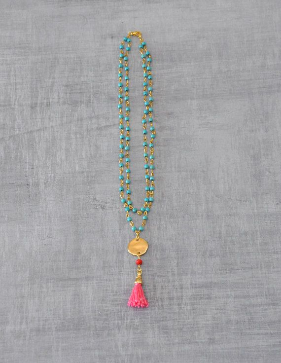 Turquoise Gemstone Necklace - Two Strand Beaded Necklace with a Tassel - Choose your color - Free Shipping
