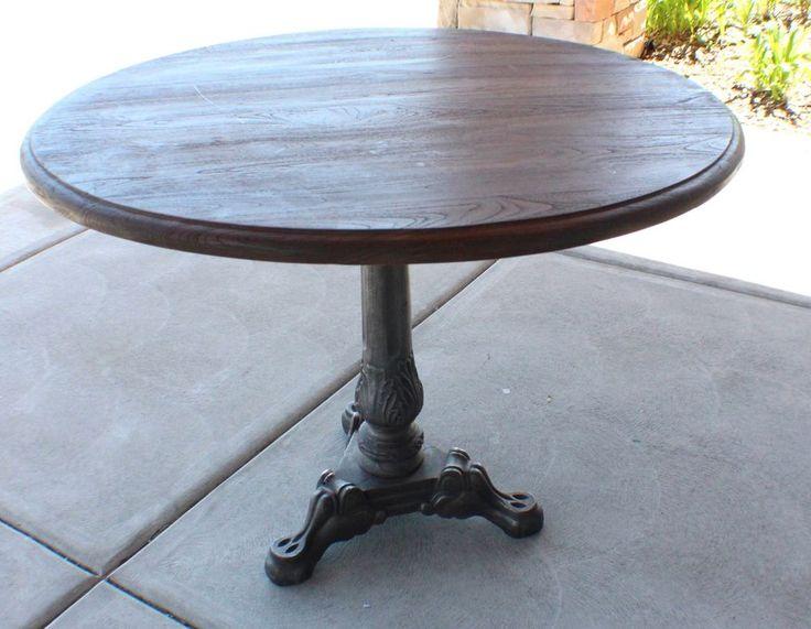 40 Round Dining Table Pedestal Solid Reclaimed Fine Wood Top Metal Base Vintage Metals