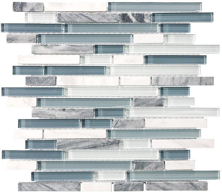 Bliss Random Strip Glass And Stone Mosaic Tiles A Nice
