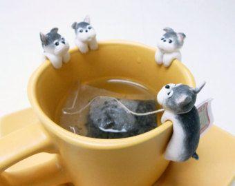 Gato bolso de té titular A  lindo gato té por MiniHandsCrafts