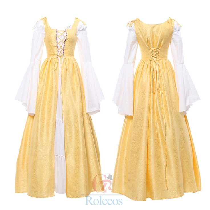 Women Renaissance Medieval Irish Costume Fitted Bodice Long Overdress&Underdress #Rolecos #Dress #PartyCosplay