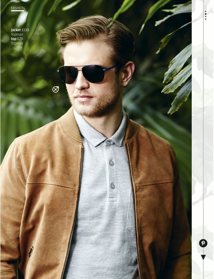 Pilot-style glasses and a bomber jacket ooze style.