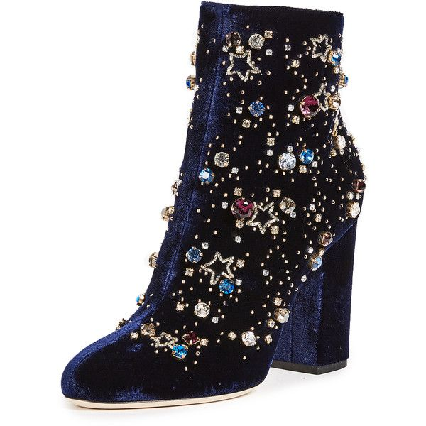 Gedebe Astera Sequin Booties ($805) ❤ liked on Polyvore featuring shoes, boots, ankle booties, navy, navy booties, navy cap, sequin booties, navy velvet boots and side zip boots