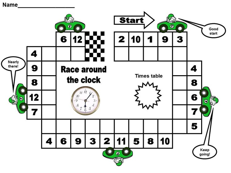 Race Around The Clock Times Table Game From Http Www Chjs
