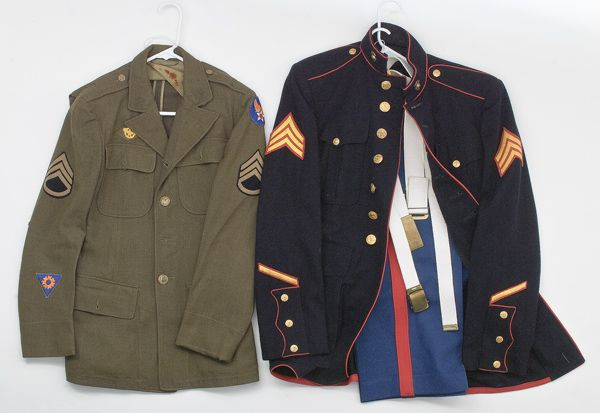 U.S. 20th Century WWII Marine and Army Uniforms, Lot of Two (2/22/2011 - Winter World at War Auction)