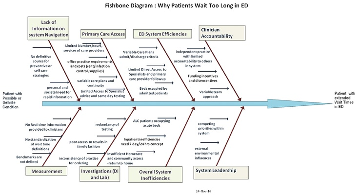 fishbone diagram  why patient wait too long in ed