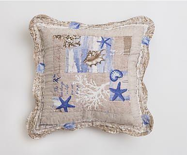 Cuscino trapuntato in cotone Marino beige/azzurro, 40x40 cm