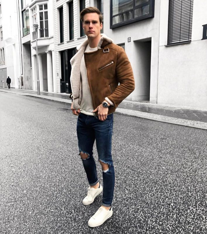 50 Stylish Ways To Wear A Shearling Coat Fashion Tips For Men Images Brown Jacket Outfit Men Bomber Jacket Outfit Mens Outfits