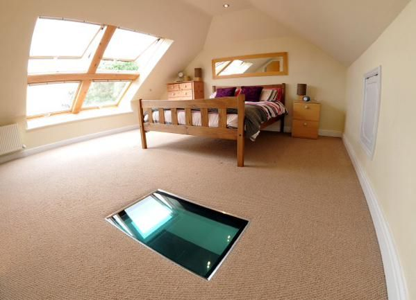Go for something different - put a flat glass skylight in the floor of your loft conversion! You can find these and VELUX windows at Sterlingbuild. This great idea is by Apex Loft Conversions.