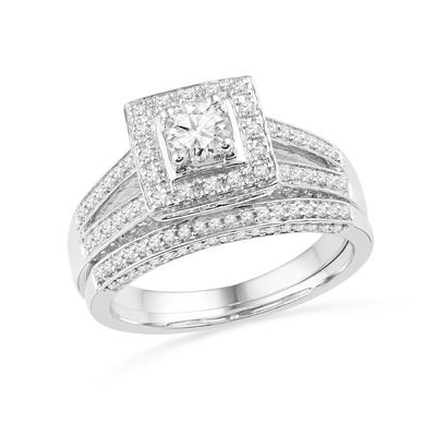 Zales 1/2 CT. T.w. Enhanced Black and White Diamond Square Frame Split Shank Bridal Set in Sterling Silver andtas9