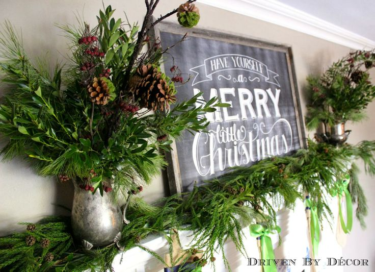 Our Christmas Home Tour fresh greenery on mantle, Christmas Chalkboard