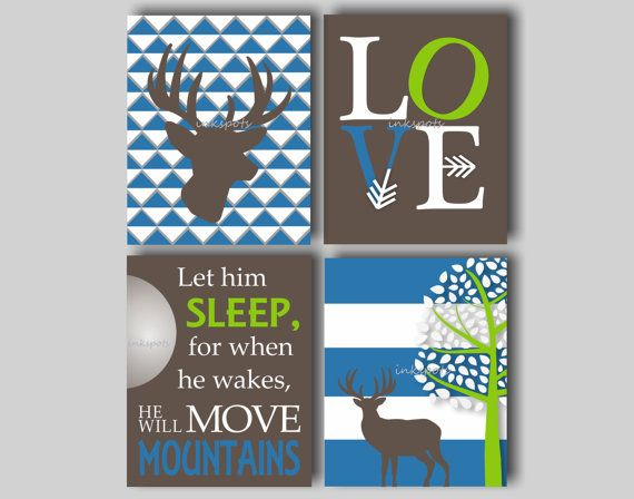 Woodland Nursery Bedding Decor Deer Nursery Art Baby Boy Nursery Art Deer Art Boys Room Let Him Sleep Print Choose Colors - 4 8 x 10 Prints