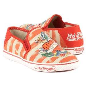 Women's Ed Hardy *Del Mar* canvas sneakers. Contrast stitch detailing. Decorative applique. Embroidered decoration. Needle stitch detail. Rhinestone embellished. Decorative striped pattern. Elastic gore. Logo motif on material. Rounded toe design. Contrast trim. Cushioned insole. Fabric lined. Man-made sole.