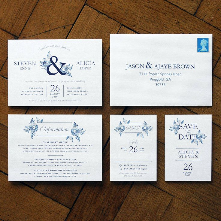 Blue China Wedding Invitations And Save The