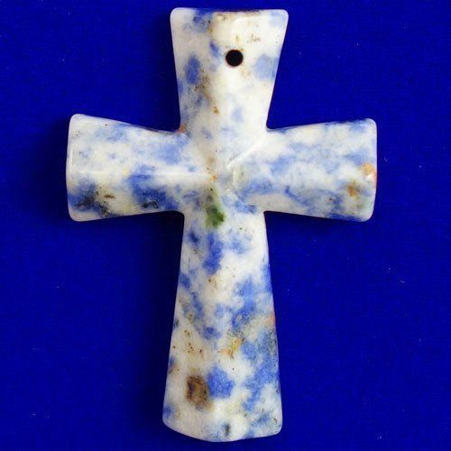 Faceted-Sodalite-Cross-Pendant-Bead-46x32x6mm-T20762