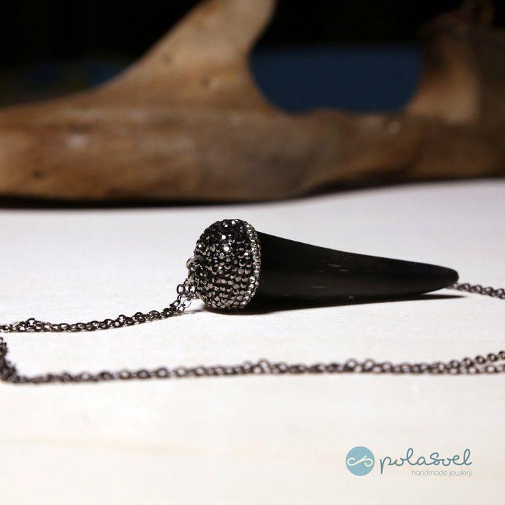 Black tooth charm, chain, necklace with black zirconioum natural stones by polasoeljewelry on Etsy