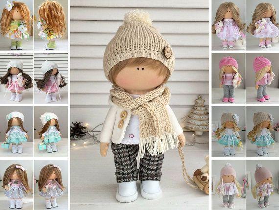 Rag doll Boy doll Fabric doll Textile doll Muñecas Handmade doll Tilda doll Art doll Brown doll Soft doll Cloth doll Baby doll by Maria