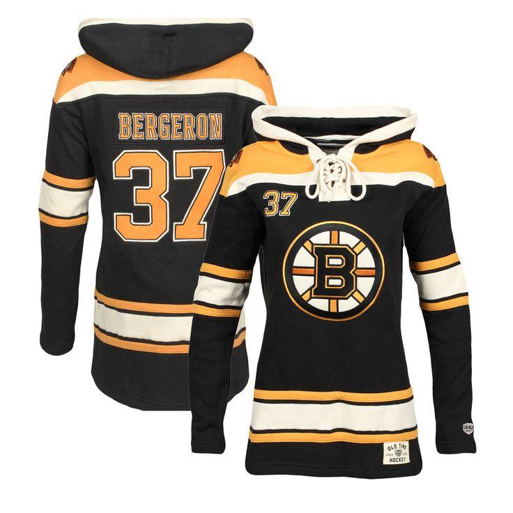 Women's Boston Bruins Patrice Bergeron Old Time Hockey Black Lacer Name & Number Hoodie