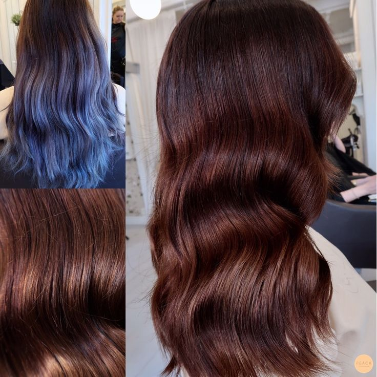 Before and after from denim ombre to rich brunette