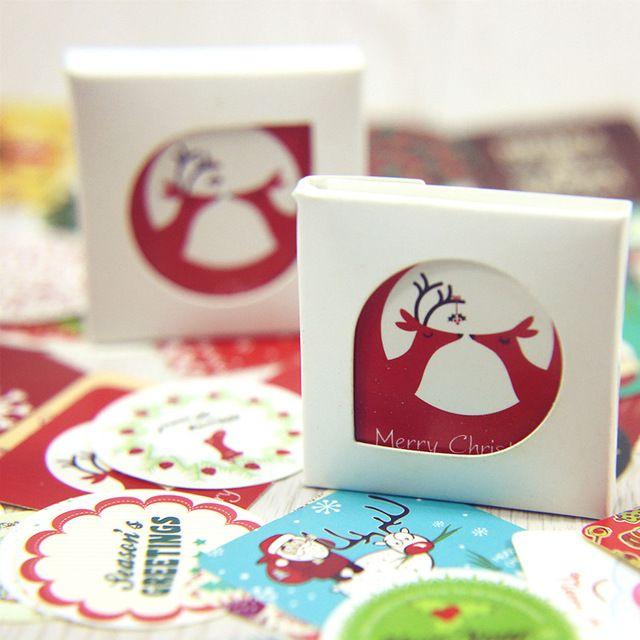 mini christmas paper seal sticker decoration decal diy album scrapbooking kawaii stationery gift on AliExpress