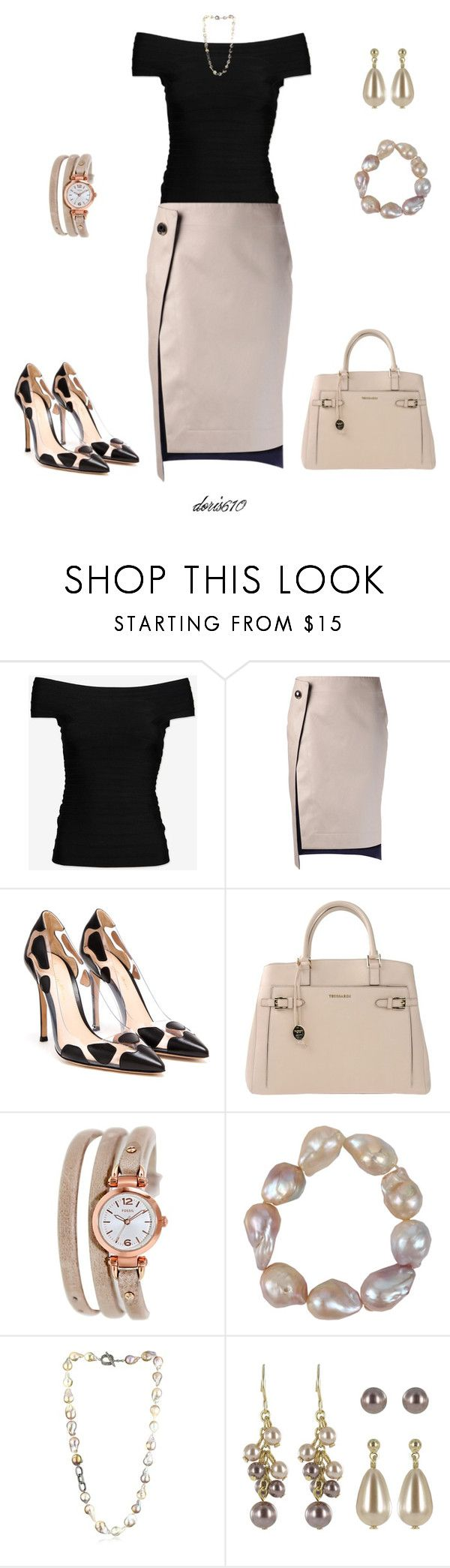 """Untitled #976"" by doris610 ❤ liked on Polyvore featuring Hervé Léger, Atto, Gianvito Rossi, Trussardi, FOSSIL, Jordan Alexander and Roman"