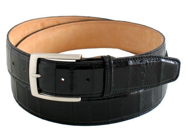 Black stylish genuine eel men's belt buckle nickel height 1,57 Inch