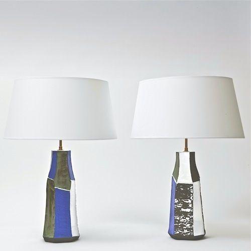 Salvatore Parisi - Pair of Ceramic Table Lamps  www.galerieriviera.com