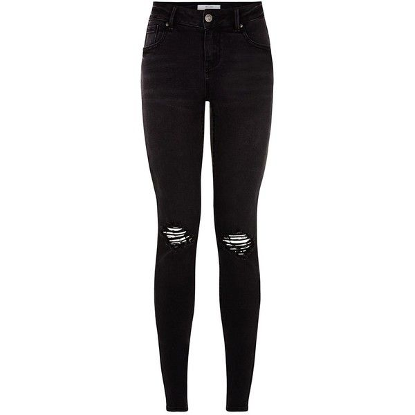 Black Busted Knee Skinny Jeans found on Polyvore