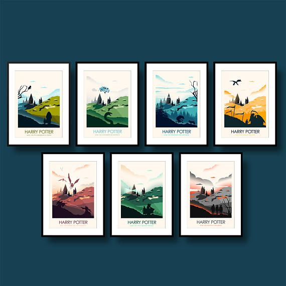 Harry Potter Movie Poster set of seven prints Poster Art