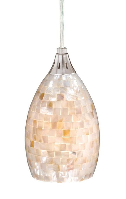 Vaxcel Lighting PD53206SN Mosaic Shell Milano 1 Light Mini Pendant - Adaptable to Monorail - LightingDirect.com