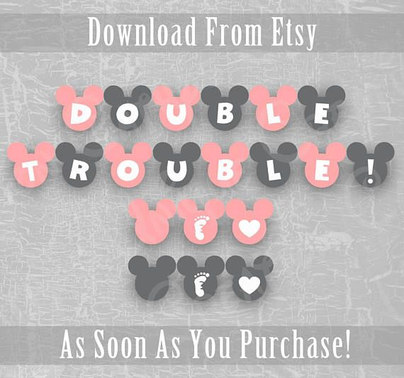 Double Trouble Minnie Mouse Twin Baby Shower Banner Disney Girl