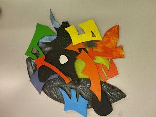 """Richmond High School, (Richmond, B.C., Canada) cardboard """"Shaped Canvas"""" project inspired by Frank Stella and Elizabeth Murray."""