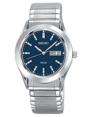 Seiko Solar Mens Watch - Blue Dial - Stainless - Expansion Band - Day-Date