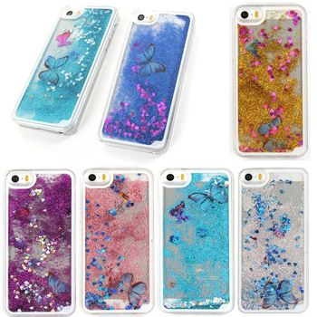 Wholesale hot sale Glitter Butterfly Dynamic Liquid Quicksand Hard Case Phone Cover For iPhone 5 5S 6  6Plus Mobile Phone Cases iPhone Covers Online
