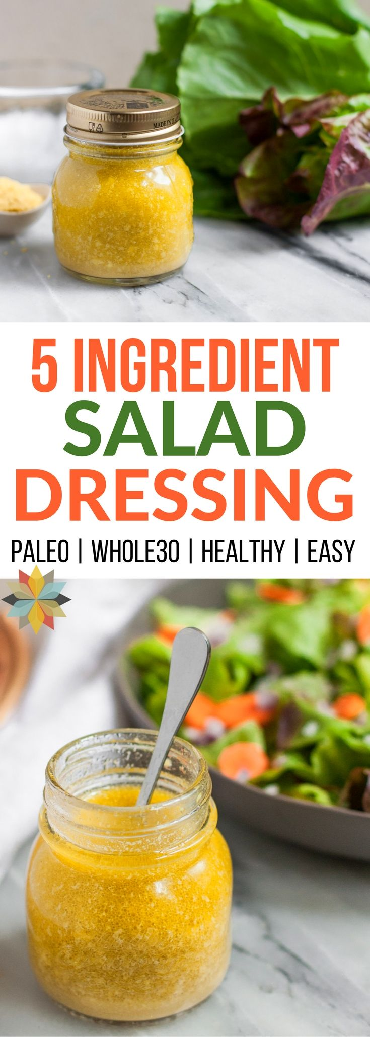 This 5 ingredient nutritional yeast salad dressing is a family fave. It's an easy salad dressing recipe your whole family will love! via @wholenewmom