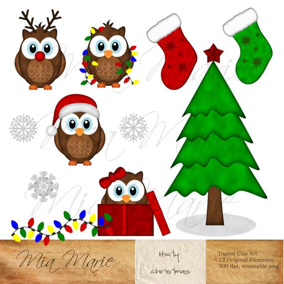Christmas Clipart, owl clipart, owl clip art, reindeer, christmas tree, christmas lights, stocking, snowflake, gift, present, santa