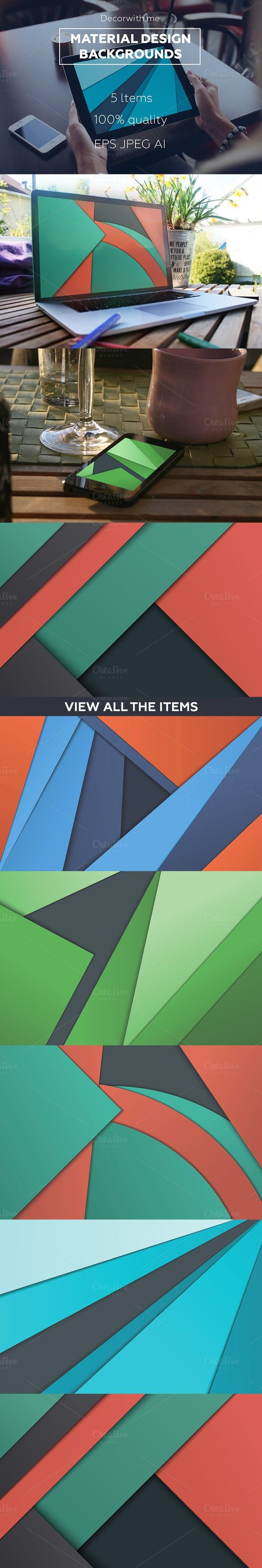 Material Design Backgrounds Set. Textures. $10.00
