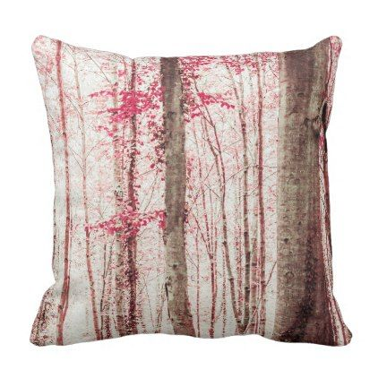 Pink and Brown Fantasy Forest Throw Pillow - rustic gifts ideas customize personalize