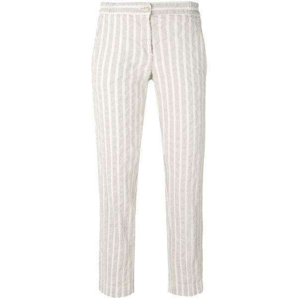 Massimo Alba striped straight trousers (€135) ❤ liked on Polyvore featuring pants, white, straight trousers, white striped pants, white stripe pants, massimo alba and striped pants