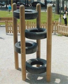 Tire climb. Play equipment for the kids and reusing those old tires we have in the shed.
