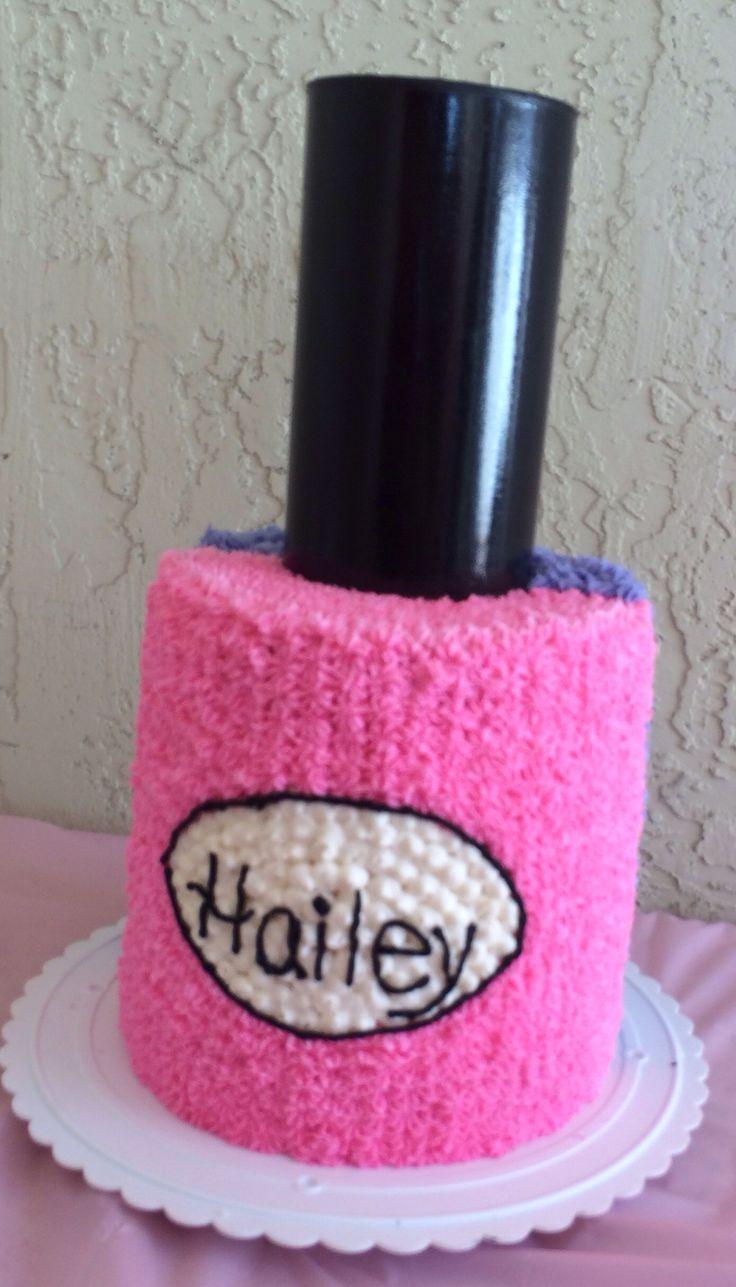 Nail polish cake spa birthday party