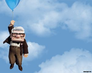 This is a PPT template with Disney character Carl Fredircksen from Up
