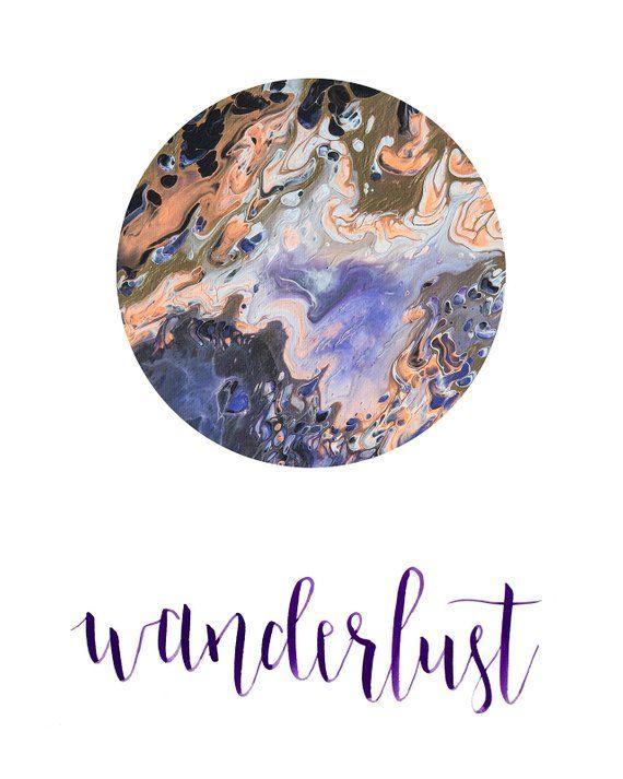Wanderlust Calligraphy PrintablePurple Typography Boho Art | Etsy – Art Prints