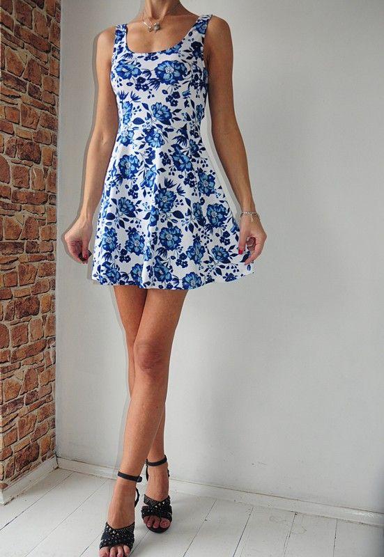 8fab86576a H amp M Divided sukienka biała w kwiaty 36 - vinted.pl