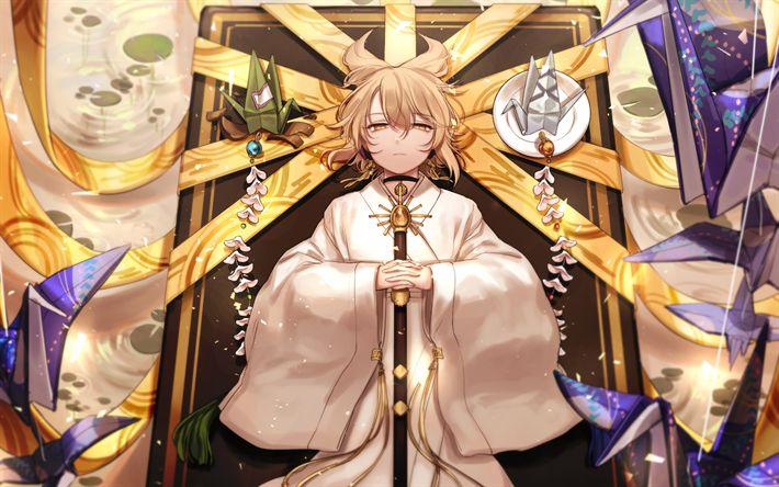 Download Wallpapers Lily White Manga Toyosatomimi No Miko Touhou Besthqwallpapers Com Garcons Anime Mignons Anime Garcons Garcon Anime