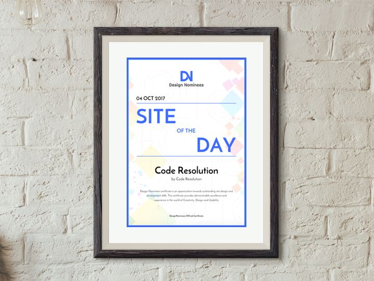 Design Nominee - Site Of The Day - Code Resolution
