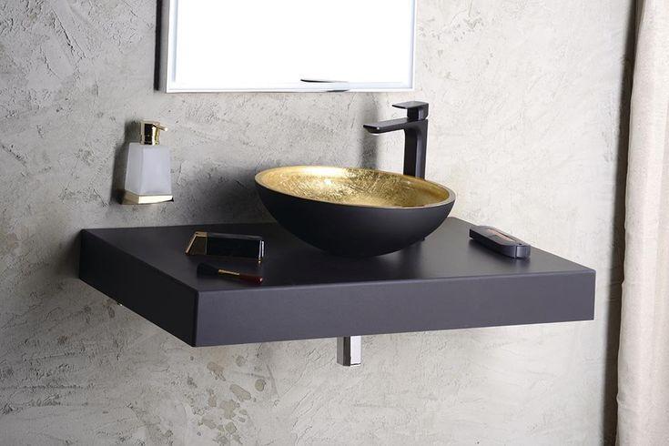 MURANO BLACK-GOLD skleněné umyvadlo kulaté 40x14 cm, zlatá/černá, SAPHO E-shop