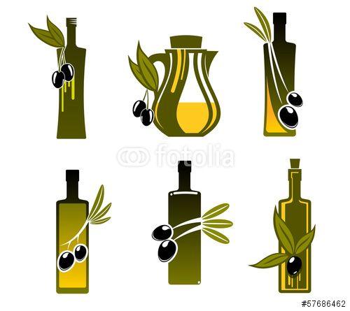 Вектор: Bottles with olive oil
