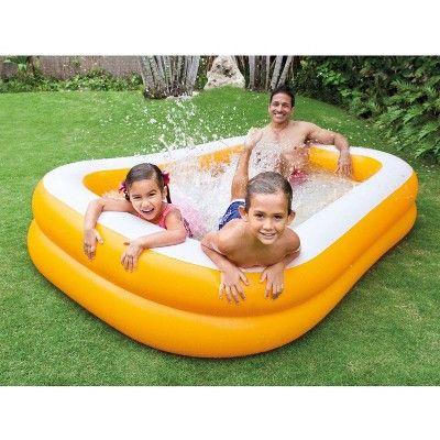 Intex Outdoor Inflatable Family & Kid Swimming Pool Swim Center, Orange (2 Pack)
