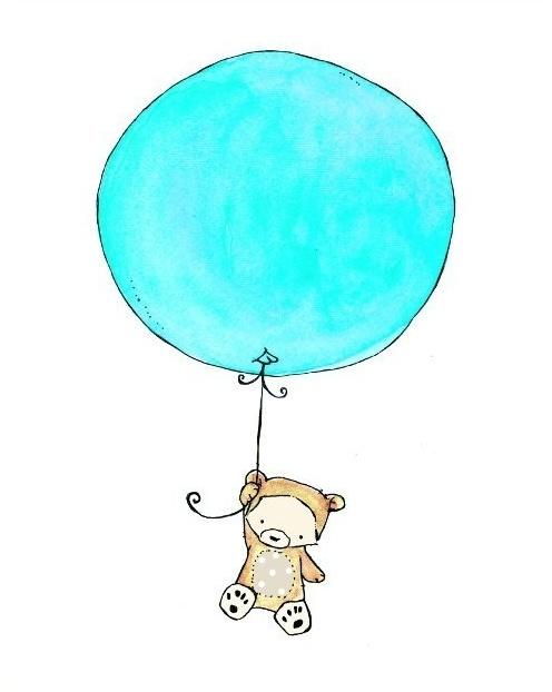 etsy - trafalgar's square - baby nursery - art print - flying high - little bear with balloon - aqua splash
